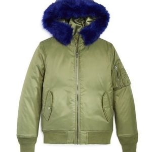 Vintage Havana Girls Faux Fur Green Bomber Jacket